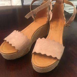 5539aa13d4e J. Crew- Suede Scalloped wedge espadrille